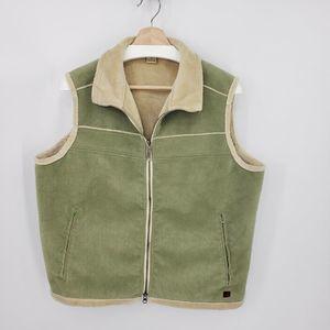 Woolrich Corduroy Vest Soft Fleece Lining Sage
